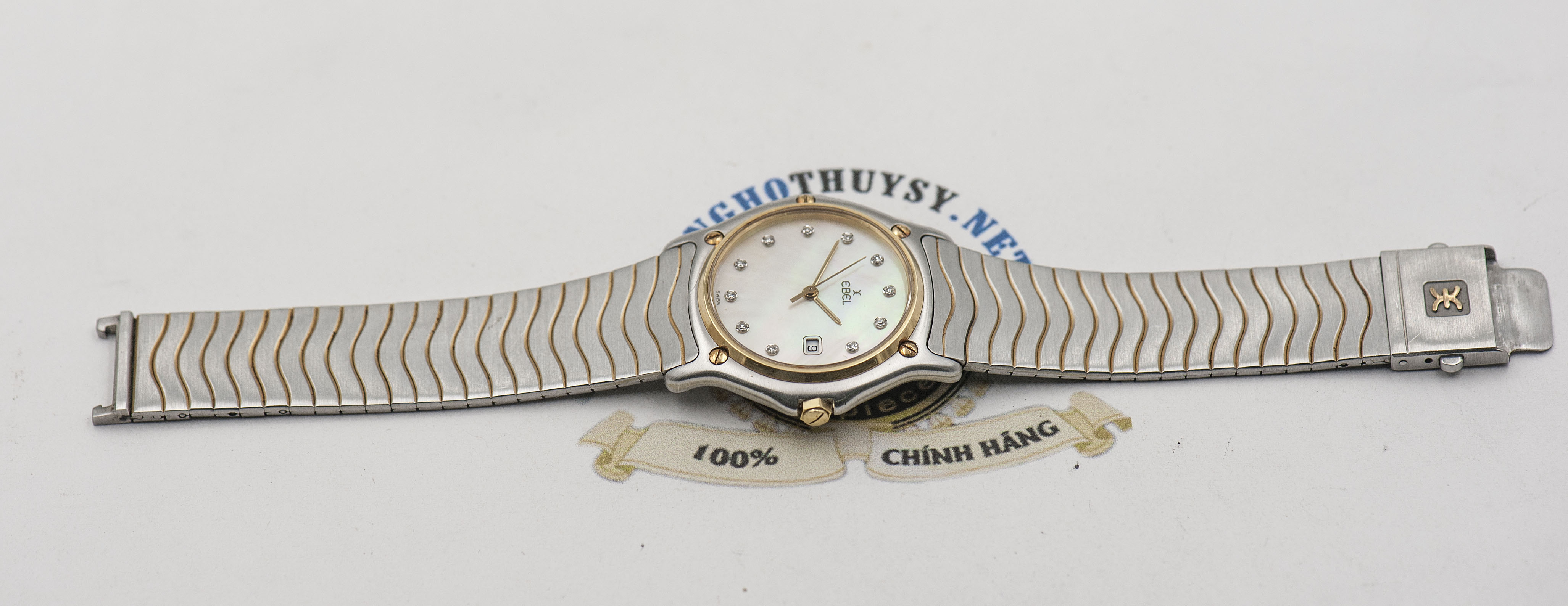 Đồng Hồ Ebel Classic Wave 1087121 Diamond Mother of Pearl 18k Nam / Nữ