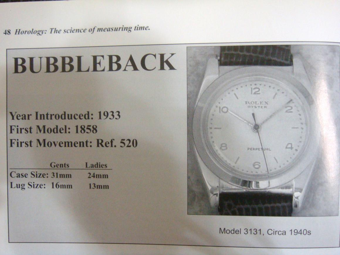 """Rolex """" Bubble Back"""" Reference numbers or model numbers"""
